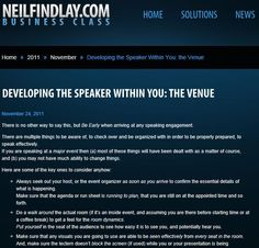Developing The Speaker Within You: The Venue.  Why sorting out your venue is do or die...