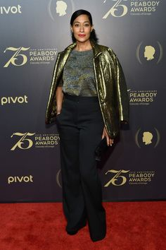 Tracee Ellis Ross High-Waisted Pants - Tracee Ellis Ross teamed her jacket with black high-waisted pants and a knit top.