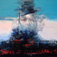 Zim Lim, ID #2 (ID series) Abstract portrait painting of hybrid soul.