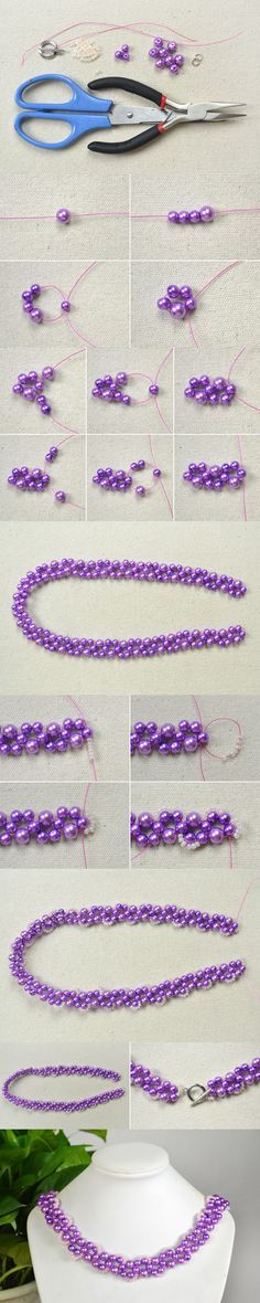 Tutorial on How to Make Your Own Beautiful Purple Bead Necklace from LC.Pandahall.com               #pandahall