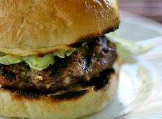 Blue Cheese Burgers ~ Fabulous grilled blue cheese burgers, with ground beef, mustard, garlic, green onions, and tangy creamy blue cheese. ~ SimplyRecipes.com