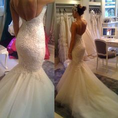 Spaghetti Strap Mermaid Wedding Dress Cathedral Train Lace Bride Dress Backless in Clothes, Shoes & Accessories, Wedding & Formal Occasion, Wedding Dresses | eBay