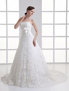 Strapless Allover Lace Wedding Dress with Bow Sash and Court Train - USD $286.69