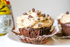 Brownie cupcakes with cookie dough frosting. Oh my.