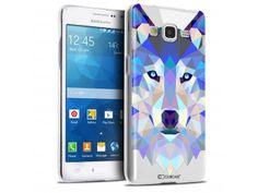Coque Crystal Galaxy Grand Prime Extra Fine Polygon Animals - Loup