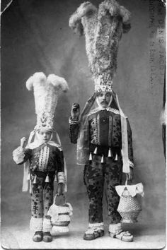 Traditional Wallonian festival costume from the late 1800s. Photograph taken in Brussels, Belgium.
