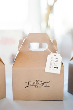 Favor (sweets) boxes | See the wedding on SMP - http://www.StyleMePretty.com/new-jersey-weddings/jersey-city/2014/01/02/liberty-house-wedding/ Brklyn View Photography