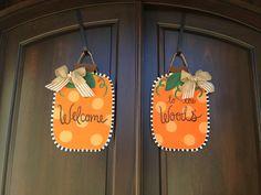 Wooden Halloween Pumpkins Door Hangers for double doors Double Door Wreaths, Pumpkin Door Hanger, Wood Pumpkins, Painted Wood, Double Doors, Door Hangers, Halloween Pumpkins, Monograms, Painting On Wood