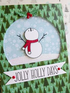 Pebbles - Winter Wonderland - Jolly Holly Days card - detail