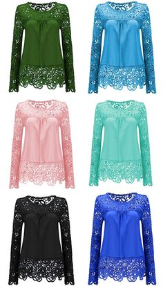$15.07 Solid Color Lace Spliced Hollow Out Blouse