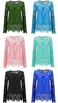 $15.07 Solid Color Lace Spliced Hollow Out Blouse https://bellanblue.com