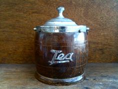Vintage English small wooden wood tea caddie tin storage bowl circa 1960's Purchase in store here http://www.europeanvintageemporium.com/product/vintage-english-small-wooden-wood-tea-caddie-tin-storage-bowl-circa-1960s/