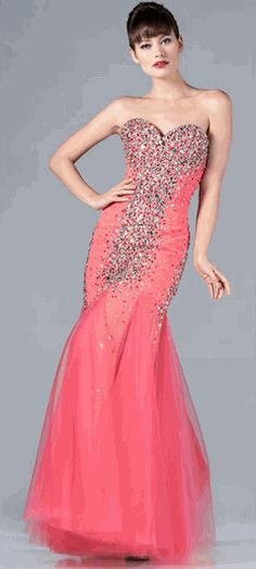 Strapless Coral Evening Gown