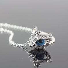 Evil Eye Necklace . Cubic Zirconia and Sterling Silver by MonyArt, $33.80