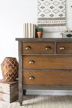 Rustic Farmhouse Empire Dresser in Old Barn Milk Paint