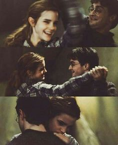 Harry Potter and the Deathly Hallows. Hermione and Harry Harry Potter Hermione, Gina Harry Potter, Mundo Harry Potter, Images Harry Potter, James Potter, Harry Potter World, Hermione Granger, Hogwarts, Harry Potter Wallpaper
