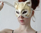 Metallic Gold Leather and Cream Silk Lace Applique Kitty Mask
