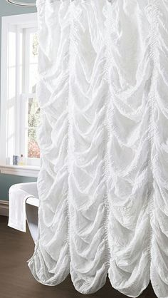 White Madelynn Shower Curtain