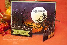Rick Adkins: Spooky Night Gate Fold Card - Spooky Fun - Halloween Scenes Edgelits - Halloween Night Enamel Dots