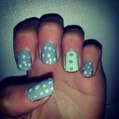 #nailart #nailpolish # #nails #naildesigns #polish #cutenails #nail #nailaddict #scra2ch #blue #green #turquoise #mint #dots #polkadots #spots by sams_awesome_nails