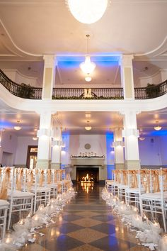 #Ceremony Setting | Monte Cristo Ballroom Wedding on SMP: http://www.StyleMePretty.com/washington-weddings/2014/01/29/washington-winter-wedding-at-monte-cristo-ballroom/ Blue Rose Photography