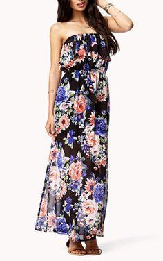 Ruffled Floral Tube Dress