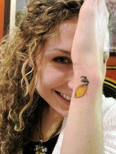 Lemon tattoo--like the style but a peach.