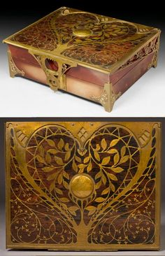 ERHARD & SOEHNE [SÖHNE] BOX Art Nouveau, circa 1910, Wood with brass inlay. Rectangular shape. Leaves Decor and Art Nouveau motifs. 26 x 31.5 cm.     SOLD $1,140 Koller Auction, Dec. 14, 2009