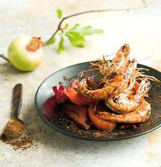 Moroccan prawn m'chermal Prawn Recipes, Seafood Recipes, Salad Recipes, Seafood Kitchen, African Spices, Prawn Shrimp, Ras El Hanout, Large Salad Bowl, Roasted Tomatoes