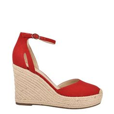 An adjustable ankle strap tops our Teelan chic wedge sandal lifted by an earthy espadrille sole Summer Shoes, Summer Outfits, Red Fabric, Earthy, Wedge Sandals, Ankle Strap, Espadrilles, Spring Summer, Footwear