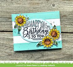 Lawn Fawn Intro: Simple Stripes: Diagonal, Simple Stripes: Landscape, Simple Stripes: Portrait and Giant Birthday Messages - Lawn Fawn Happy Birthday Messages, Birthday Cards, All You Need Is, Lawn Fawn Blog, Sunflower Cards, Woodland Critters, Lawn Fawn Stamps, Rainbow Paper, Birthday Design