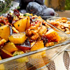 Fantastic Autumn Fruit Salad with Plums, Dried Cherries and Walnuts