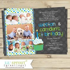 Boy Twin 1st Birthday Invitation by Lil' Sprout Greetings -  Print your own, customize colors