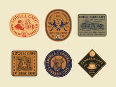 Lowell Cafe Stickers designed by Jonathan Schubert. Connect with them on Dribbble; the global community for designers and creative professionals. Simon Walker, Logo Branding, Branding Design, Adobe Illustrator, Farm Cafe, Logos Retro, Hand Drawn Logo, Badge Design, Colour Pallete