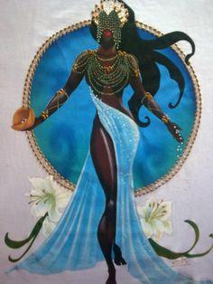 """Iemanja / Yemanjá / Iemanjá / Janaína/ Rainha do Mar / A iucá / Dona Janaína / Inaê ou Maria princesa do Aiokám é um orixá africano cujo nome deriva da expressão ioruba Yéyé omo ejá (""""Mãe cujos filhos são peixes"""").:"""