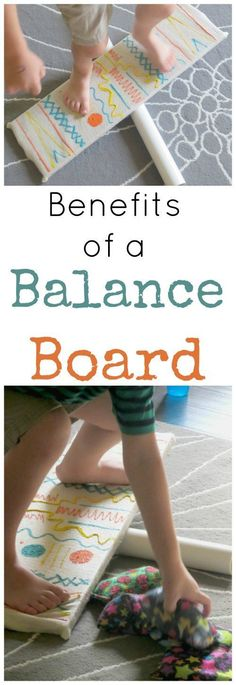 talk about Balance Board Benefits for Kids The benefits of a balance board for vestibular input and sensory processing!The benefits of a balance board for vestibular input and sensory processing! Vestibular Activities, Gross Motor Activities, Movement Activities, Gross Motor Skills, Learning Activities, Preschool Activities, Kids Learning, Early Learning, Vestibular System