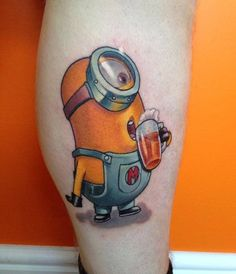 30 People Who Actually Got a Minion Tattoo Home Tattoo, 100 Tattoo, Get A Tattoo, Tiny Tattoo, Minion Tattoo, Girl Leg Tattoos, Tattoos For Guys, Tatoos, Minions
