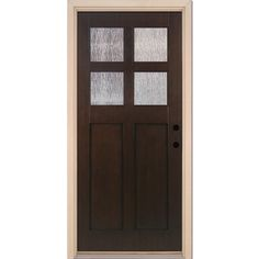 Feather River Doors in. Cord Craftsman Stained Cocoa Teak Left-Hand Inswing Fiberglass Prehung Front - The Home Depot Wood Front Doors, Exterior Front Doors, Prehung Doors, Shaker Doors, Mini Blinds, Iron Doors, Single Doors, Wood Glass, Steel Doors