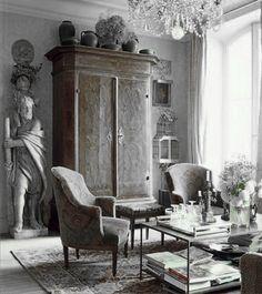 ♅ Dove Gray Home Decor ♅  grey antique sitting room