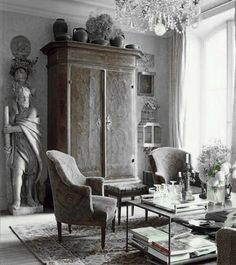 ♅ Dove Gray Home Decor ♅  grey antique sitting room