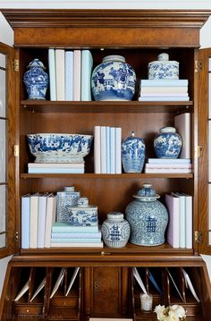 Burled Walnut English Secretary Styled With Chinese Blue and White Pottery