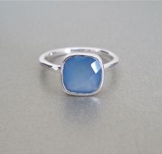 Sterling Silver Blue Chalcedony Ring - www.tangerinejewelryshop.com