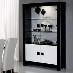 Vaisselier noir et blanc laqué design SIERA