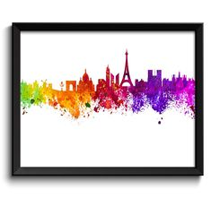 Paris Skyline Colorful France Europe City Watercolor Cityscape Poster Print Modern Abstract Landscape Art Painting Red Purple Pink Yellow by CityPrintsYourWay on Etsy https://www.etsy.com/listing/255648391/paris-skyline-colorful-france-europe