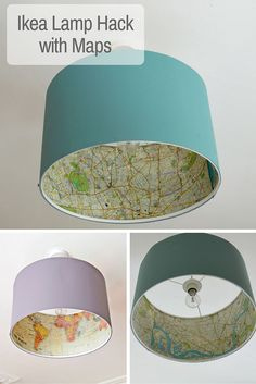 - Bottle Crafts - Decoupage your favourite maps onto a Rismon lamp, for a great Ikea lamp hack. Decoupage your favourite maps onto a Rismon lamp, for a great Ikea lamp hack. Pot Mason Diy, Map Crafts, Crafts With Maps, Deco Luminaire, Best Ikea, Creation Deco, Lamp Shades, Ikea Lamp Shade, My New Room