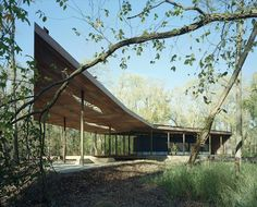 Ruth Lilly Visitors Pavilion by Marlon Blackwell Architect in 100 Acres Art & Nature Park, The Indianapolis Museum of Art, Indianapolis, United States