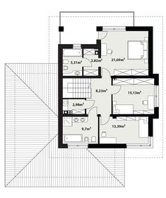 Rzut TP Korso 2 CE Modern Family House, Modern House Design, Beautiful House Plans, Beautiful Homes, Architect House, Design Case, My House, Floor Plans, Exterior