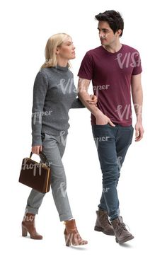 cut out man and woman walking arm in arm