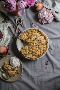 homemade no churn rose ricotta ice cream with a peach tea pie made with earl grey. the ice cream is made with rose petal jam