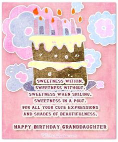 Sweet Birthday Wishes For Granddaughter